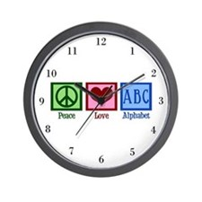 Peace Love ABC's Wall Clock