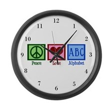 Peace Love ABC's Large Wall Clock
