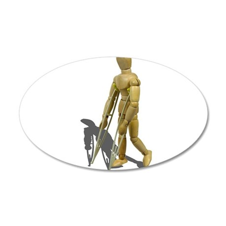 Model Walking with Crutches 38.5 x 24.5 Oval Wall