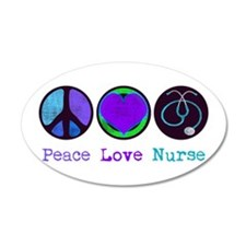 Peace Love Nurse 38.5 x 24.5 Oval Wall Peel