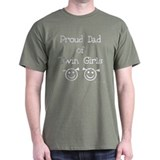 Proud Dad of Twin Girls Black T-Shirt