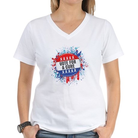 Vote for a Cure For Cancer Women's V-Neck T-Shirt