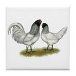 Owl Beard Chickens Tile Coaster