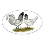 Owl Beard Chickens Sticker (Oval 50 pk)
