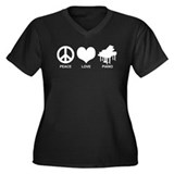 Peace Love Piano Women's Plus Size V-Neck Dark T-S