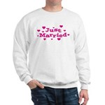 Just Married with Hearts Sweatshirt
