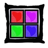 Pop Art Hearts Throw Pillow