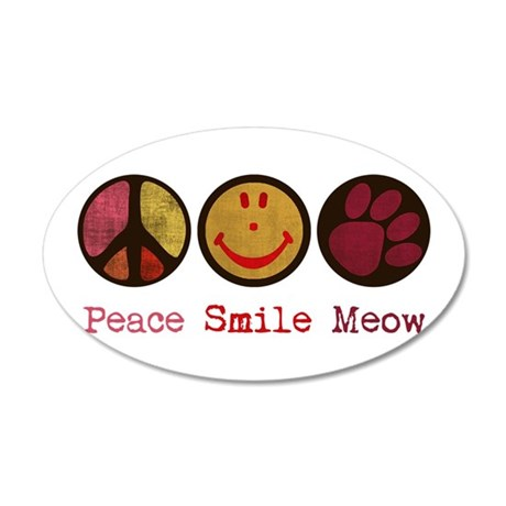 Smile and MEOW 38.5 x 24.5 Oval Wall Peel