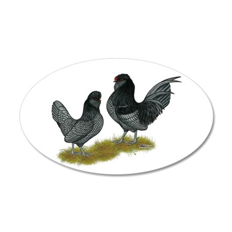Belgian Watermaal Bantams 38.5 x 24.5 Oval Wall Pe
