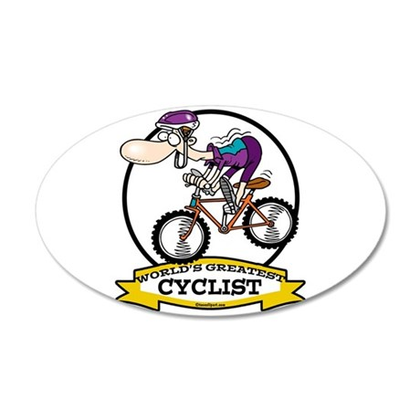 WORLDS GREATEST CYCLIST MEN CARTOON 22x14 Oval Wal