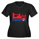 London Volleyball Women's Plus Size V-Neck Dark T-