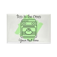Bun in the Oven (green) Rectangle Magnet