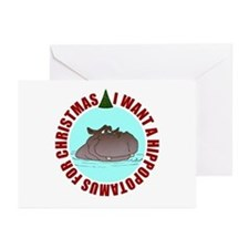 Hippo for Christmas Greeting Cards (Pk of 10)