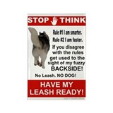 Leash Warning Rectangle Magnet