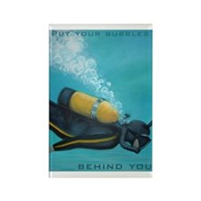 Vintage Scuba Diver Rectangle Magnet
