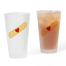 Broken Heart Band Aid Drinking Glass