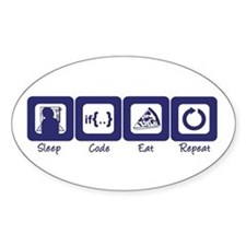 Sleep- Code- Eat- Repeat Oval Bumper Stickers