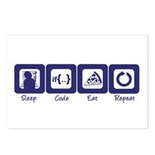 Sleep- Code- Eat- Repeat Postcards (Package of 8)