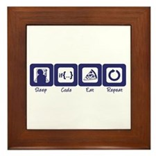 Sleep- Code- Eat- Repeat Framed Tile