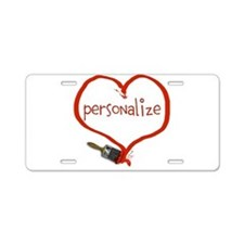 Customizable Painted Heart Aluminum License Plate
