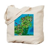 Mexico City to Yucatan Cartoon Fun Map tote bag