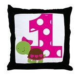 Turtle 1st Birthday Throw Pillow