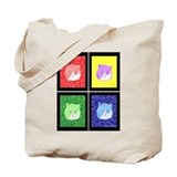 Vivid Pop Art Cats Tote Bag