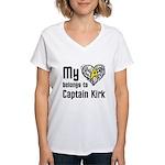 My Heart Belongs to Captain Kirk Women's V-Neck T-