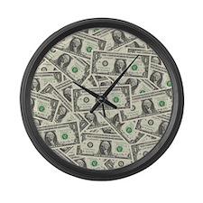 Dollar Bills Large Wall Clock