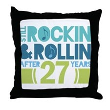 27th Anniversary Rock N Roll Throw Pillow