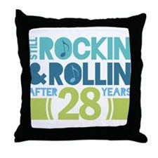 28th Anniversary Rock N Roll Throw Pillow