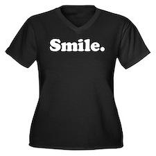 Smile Women's Plus Size V-Neck Dark T-Shirt