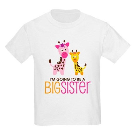 Giraffe going to be a Big Sister Kids Light T-Shir