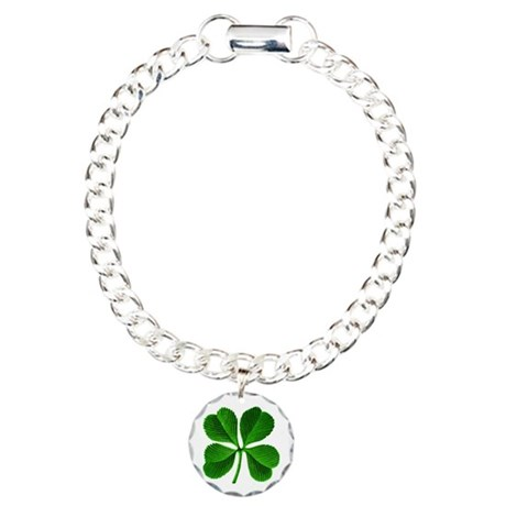 St Patricks Day 4 Leaf Clover Charm Bracelet, One