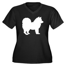 Chow Chow Silhouette Women's Plus Size V-Neck Dark