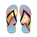 Girls Soccer Rainbow Flip Flops