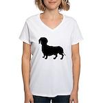 Dachshund Silhouette Women's V-Neck T-Shirt