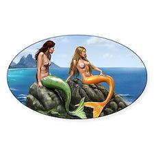 Pensive Mermaids on Rocks Decal