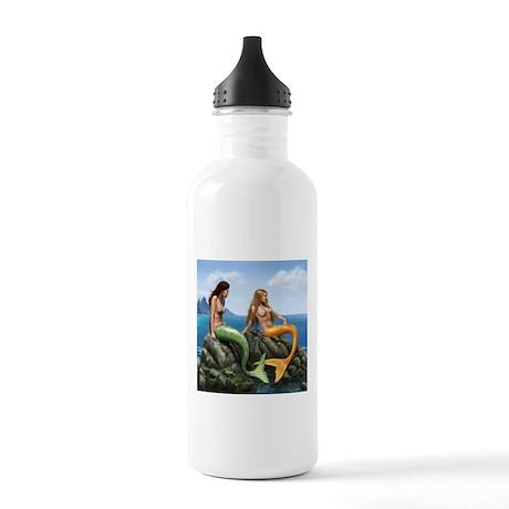 Pensive Mermaids on Rocks Stainless Water Bottle 1