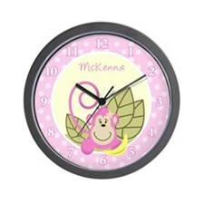 Silly Monkey Pink Wall Clock - McKenna