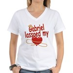 Gabriel Lassoed My Heart Women's V-Neck T-Shirt