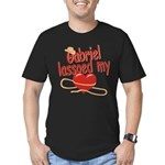 Gabriel Lassoed My Heart Men's Fitted T-Shirt (dar