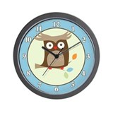 Tree Tops Owl Wall Clock - Blue