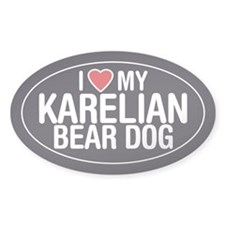 I Love My Karelian Bear Dog Oval Sticker/Decal