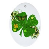 Lucky 4 Leaf Clover Irish Ornament (Oval)
