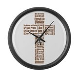 Jesus' Names Cross (brown) Large Wall Clock