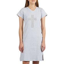 Jesus' Names Cross (light Gre Women's Nightshirt
