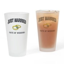 Just Married (Add Date of Wedding) Drinking Glass