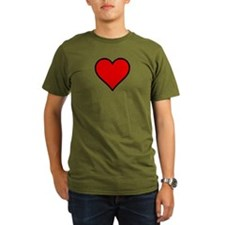 Plain Red Heart w/ black outline T-Shirt