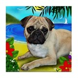 Linda Pug Dog #1 Tile Coaster